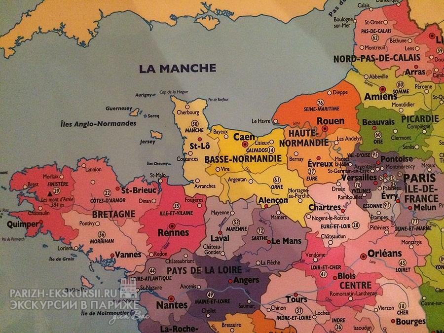 Нормандия на карте Франции